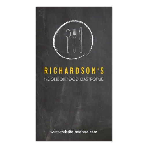 FORK SPOON KNIFE CHALKBOARD LOGO 3 for Restaurant Business Card Templates