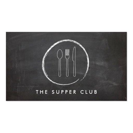 FORK SPOON KNIFE CHALKBOARD LOGO for Restaurant... Business Card