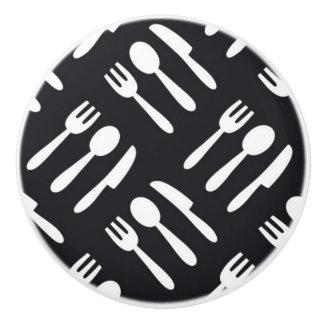 Fork spoon knife pattern ceramic knob