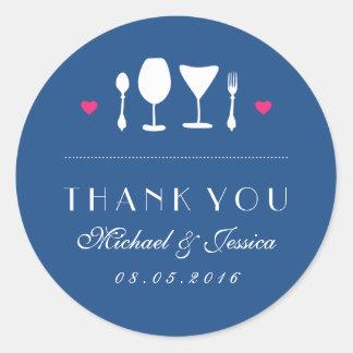 Fork Spoon Royal Blue Wedding Thank You Sticker