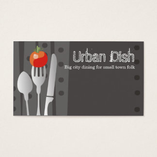 fork stuck tomato spoon knife dinin catering bu... business card