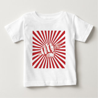 Fork Woodcut Propaganda Fist Hand Baby T-Shirt