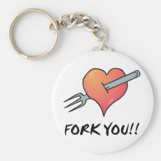 fork you basic round button key ring