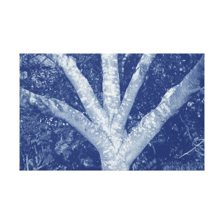 Forked Branches - Cyanotype Effect Canvas Print