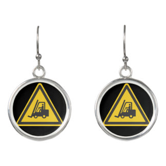 Forklift Operator Driver Fun Warehouse Caution Earrings