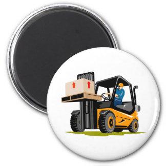 forklift truck retro refrigerator magnet
