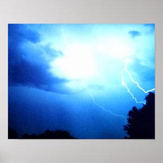 Forks of lightning in blue, above trees poster