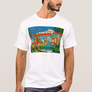 Forks, Washington - Large Letter Scenes T-Shirt
