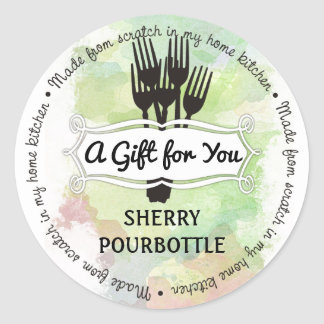 Forks watercolor chef catering cooking round sticker