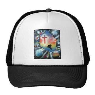 Forlorn Figure Colorful Universe Cross Mesh Hats