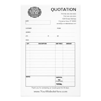 Form - Business Quotation or Invoice 14 Cm X 21.5 Cm Flyer