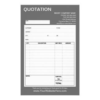 Form - Business Quotation or Invoice 14 Cm X 21.5 Cm Flyer