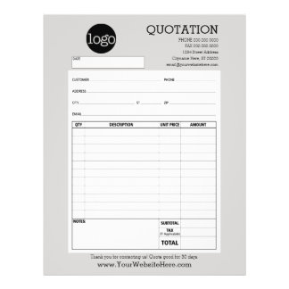 Form - Business Quotation or Invoice 21.5 Cm X 28 Cm Flyer
