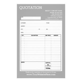Form - Business Quotation or Invoice - Light Gray 14 Cm X 21.5 Cm Flyer