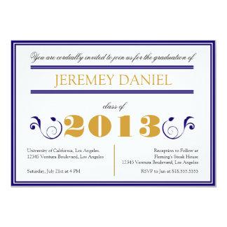 Formal 2013 - Blue & Gold Graduation Card 13 Cm X 18 Cm Invitation Card