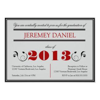 Formal 2013 - Red & Black Graduation Card 13 Cm X 18 Cm Invitation Card
