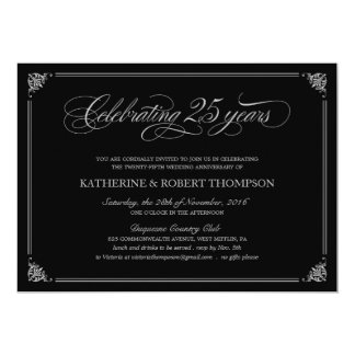 Formal 25th Anniversary Party Invitations