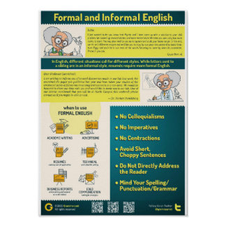 Formal and Informal Style in English Poster