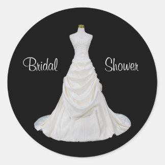 Formal Black and White Bridal Shower Envelope Seal Round Sticker