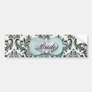 formal black and white damask wedding bumper sticker