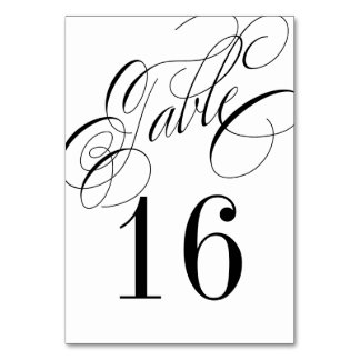 Formal Black and White Table Number Card - order 1 Table Cards