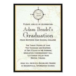 Formal Black Compass Map Graduation Announcements