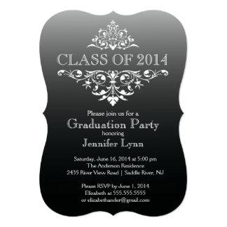 Formal Black Elegant Flourish Graduation Party 13 Cm X 18 Cm Invitation Card