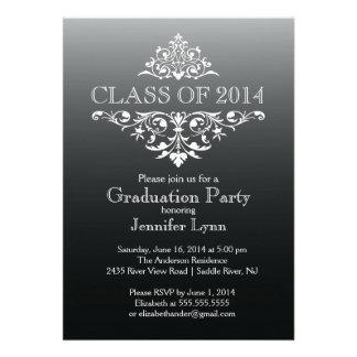 Formal Black Elegant Flourish Graduation Party Personalized Invitations
