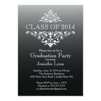 "Formal Black Elegant Flourish Graduation Party 5"" X 7"" Invitation Card"