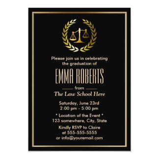 Formal Black & Gold Law School Graduation 5x7 Paper Invitation Card