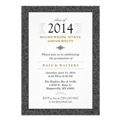 Formal Black Gray & Gold Graduation Invitation