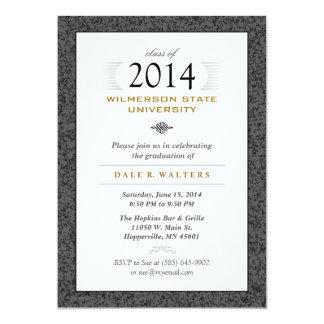 "Formal Black Gray & Gold Graduation Invitation 5"" X 7"" Invitation Card"