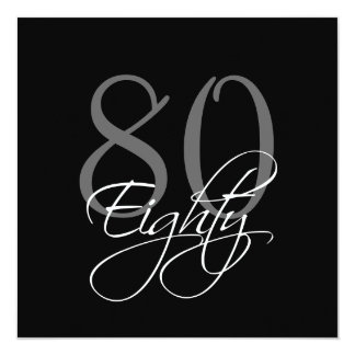 Formal Black Grey 80th Birthday Invitations