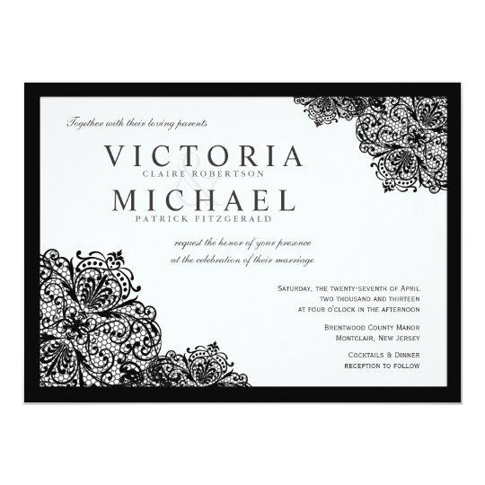 Formal Black Lace Square Wedding Invitations
