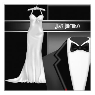 Formal Black Tie and White dress Birthday Invite