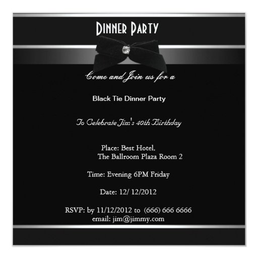 Formal Black Tie Birthday Dinner Party 13 Cm X 13 Cm