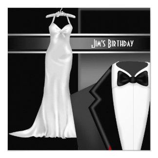 Formal Black Tie White dress Birthday 13 Cm X 13 Cm Square Invitation Card