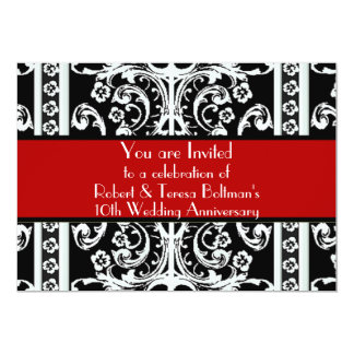 Formal Black, White, & Red Baroque Invitation