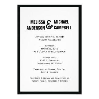 Formal Black White Wedding Invitation