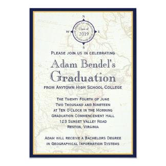 Formal Blue Compass Map Graduation Announcements