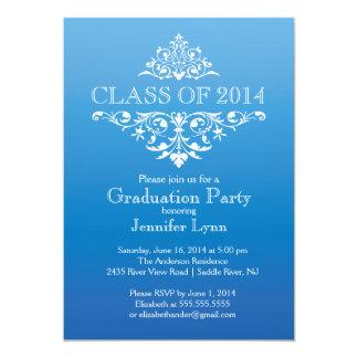 Formal Blue Elegant Flourish Graduation Party 13 Cm X 18 Cm Invitation Card