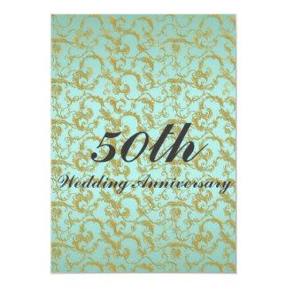 Formal Blue & Gold Filigree Wedding Anniversary Card