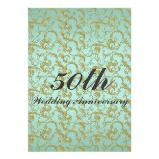 Formal Blue & Gold Filigree Wedding Anniversary Invitation