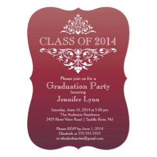 "Formal Burgundy Elegant Flourish Graduation Party 5"" X 7"" Invitation Card"