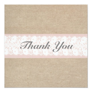 Formal Burlap & Lace Pink Thank You Card 13 Cm X 13 Cm Square Invitation Card