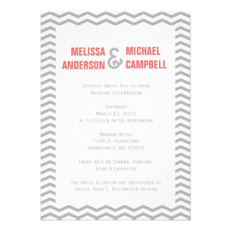 Formal Chevron Coral Gray Wedding Invitation