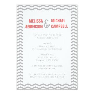 Formal Chevron Coral & Gray Wedding Invitation