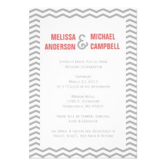 Formal Chevron Coral & Grey Wedding Invitation
