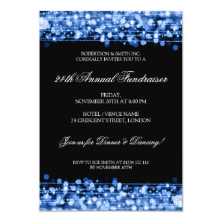 Formal Corporate Fundraiser Party Sparkles Blue Card