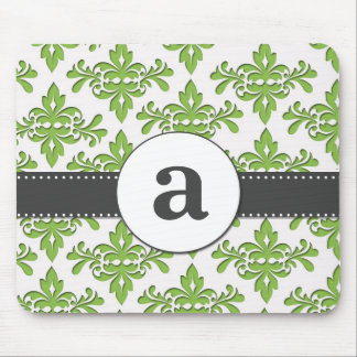 Formal Damask Monogram Mouse Pad